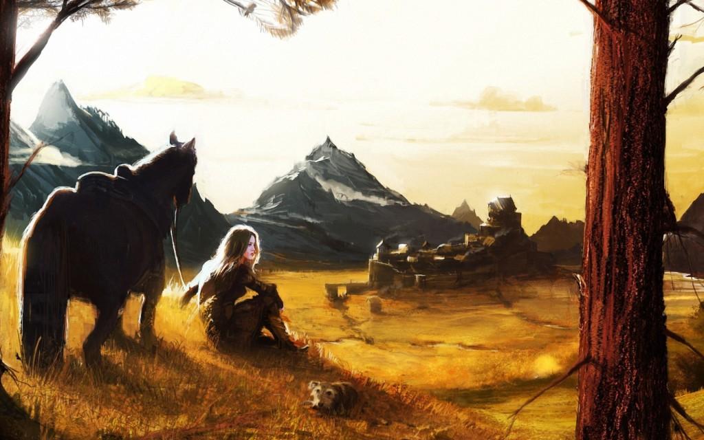 art-girl-horse-dog-mountain-village-1